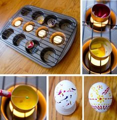 eggs wax decorate instructions muffin form grill rack pinhead candle