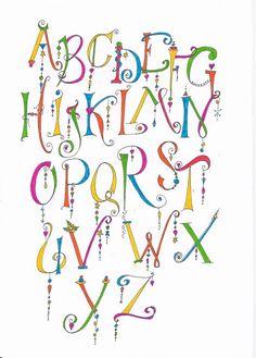 Calligraphy Fonts Alphabet, Handwriting Alphabet, Hand Lettering Alphabet, Doodle Lettering, Creative Lettering, Lettering Styles, Alfabeto Doodle, Hand Lettering Tutorial, Beautiful Lettering