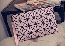 Korean fashion fold geometry Quilted Clutch bag Variety women candy colored bags