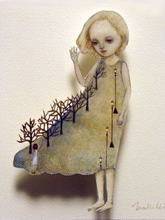 Maki Hino. And you say good bye. Paper doll. surreal 3d sculpture paper art doll, watercolour and ink print
