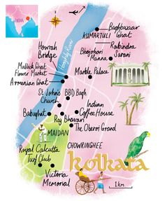 Calcutta map by Scott Jessop. The Oberoi, Victoria Memorial, St John's Church, Round The World Trip, India Tour, Travel Illustration, Travel Magazines, India Travel, Kolkata