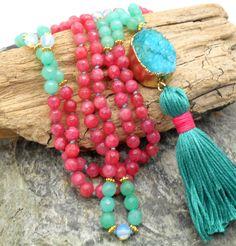 162 Bead Turquoise and Bright Pink Agate Mala with Druzy - Japa Mala, 108 Bead Mala, Boho, Layering Necklace, Bohemian, Tassel Necklace by HaoleGirlHaikuZen on Etsy