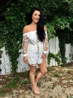 Lace Long Embroidered Sleeve Off the Shoulder Romper