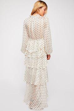 V-Neck Balloon Sleeve Polka Dot Printed Layered Ruffle Splice Maxi Dress Types Of Sleeves, Dresses With Sleeves, Tiered Dress, Polka Dot Print, Plunging Neckline, Ruffle Trim, Free People Dress, Pretty Dresses