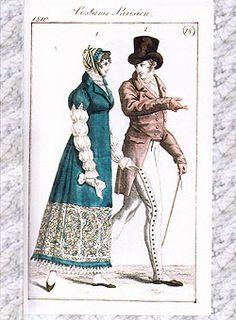Oh so many buttons!  Regency Era Fashion Plates - 1800-1819 Jane Austen Online Giftshop