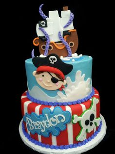 Pirate cake, I like that the top tier is blue and the bottom is white and red stripes Baby Cakes, Fondant Cakes, Cupcake Cakes, Pirate Birthday Cake, Birthday Cakes, Birthday Star, Pirate Ship Cakes, Pirate Ships, Occasion Cakes