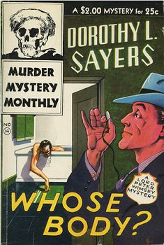 Cover of Sayer's book Whose Body?, published in 1923. Image Public Domain via Project Gutenberg.