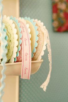 sweetly colored trims all in a row...