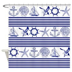 Shop unique Shower Curtains from CafePress. Great designs on professionally printed shower curtains. Nautical Flip Flops, Nautical Throws, Nautical Stripes, Starfish, Duvet, Objects, Gulls, Curtains, Throw Pillows