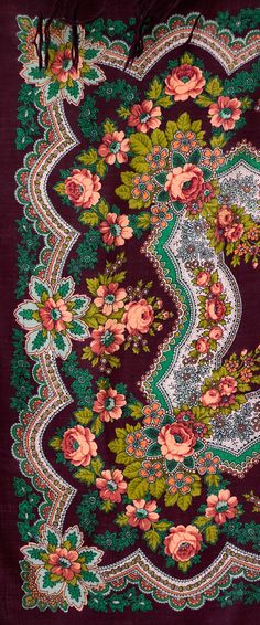 This is a lovely Russian scarf designed by Klara Zinovieva, an eminent artist of the Pavlovo Posad Manufacture. It is called Golden Leaves. Textile Patterns, Textile Prints, Textile Design, Textile Art, Print Patterns, Textiles, Scrapbook Patterns, Wow Art, Pattern Wallpaper