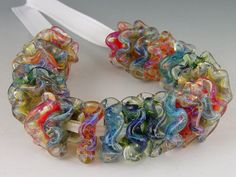 Freckled Ruffles   24 beads borosilicate/boro by redsidedesigns, $60.00