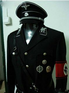 The Third Reich SS Black Uniforms WWii Nazi German Waffen SS M32 Officer Uniform Full Set Of Military Ranks Hat Trousers
