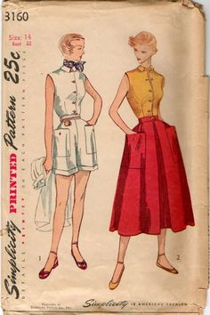 Vintage 1950s Sleeveless Blouse, Side Zip Shorts and Skirt Pattern B32. $12.99, via Etsy.    It'd be rad to make an updated version of this type of pattern...