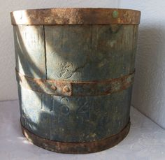dry measure Antique primitive Wooden Barrel Bushel Basket Bucket old blue PAINT