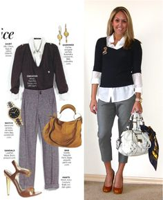 Previous pinner wrote: Love this outfit for work. Great proportion, as Tim Gunn would say.  But I couldn't make the shoes work for me.