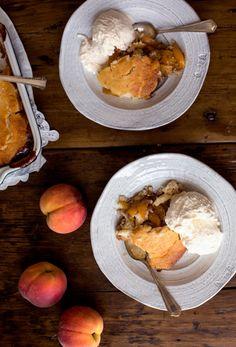 Classic Peach Cobbler- Garden & Gun (the secret is tangy buttermilk in the crust)