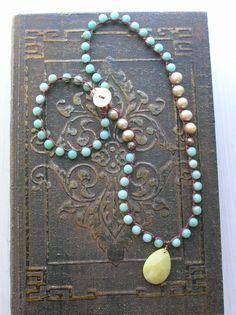 Boho crochet necklace freshwater pearls amazonite 'Sea Breeze', gemstone drop robins egg, beach jewelry bohemian jewelry
