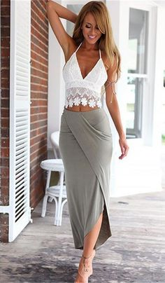 White Lace Top Plus Midi Skirt Outfit Inspiration