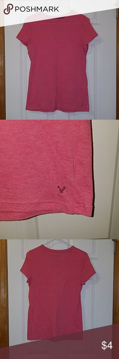 Very good condition pink American Eagle t-shirt L Very good condition pink American Eagle t-shirt. Size L. Very light. A little stretch. American Eagle Outfitters Tops