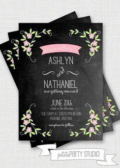 Свадебные приглашения с модным эффектом меловой доски:    #wedding #bride #flowers