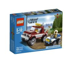 LEGO City Police Pursuit 4437 Includes 2 minifigures: Forest policeman and a robber Features police ATV and robber offroaderGold bar, money bill and crowbar also included Robber offroader measures over long Police ATV measures over long Lego City Police, Police Police, Quad, Lego Building Sets, Classic Bronco, Lego City Sets, Offroader, Lego Toys, Buy Lego