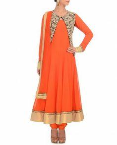 Flame Orange Anarkali Suit with Jacket 269