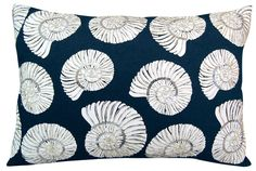 White nautilus shell images are outlined and hand-beaded with silver sequins on a navy blue background, creating a fun coastal pillow with a touch of glam! Coastal Bedding, Coastal Bedrooms, Coastal Living Rooms, Modern Coastal, Coastal Style, Coastal Decor, Coastal Industrial, Coastal Furniture, Coastal Farmhouse