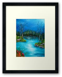 Framed Art Print,  forest,river,nature, scene,wilderness,forest, blue,turquoise, nightscape,beautiful,image,fine,contemporary,scenic,modern,virtual,realism,realistic,wall art,awesome,cool,artistic,artwork,for sale,home,office,decor,decoration,decorative,items,ideas, redbubble