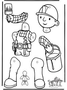 Pull-puppet Bob the Builder 1 - Sprællemænd Fun Activities For Kids, Kindergarten Activities, Preschool Crafts, Diy Crafts For Kids, Art For Kids, Dinosaurs Preschool, Bob The Builder, Puppet Crafts, Construction Birthday