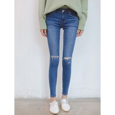 Blue Mid Waist Distressing Skinny Jeans ($39) ❤ liked on Polyvore featuring jeans, destroyed denim jeans, torn jeans, destructed skinny jeans, ripped skinny jeans and ripped jeans