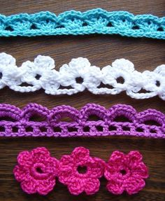 Crochet flowers and lace trim tutorials!.