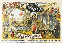 Pirates of Penzance poster, from the original production.  Lots of little details in the background.