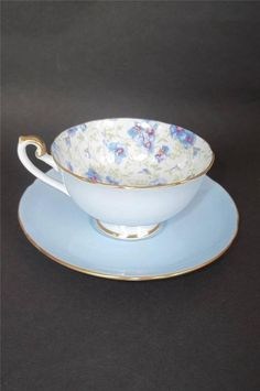 SHELLEY BONE CHINA Tea CUP & SAUCER BOSTON CHINTZ Blue Violets 14213/S10