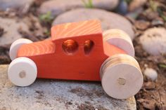 Red Wood Car by CreatedbyBabs on Etsy