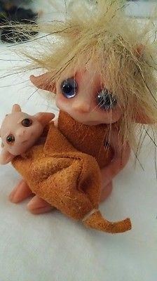 2 OOAK Polymer Clay Hand Sculpted Dolls Elf Troll & Baby by Lori of Trolltracks