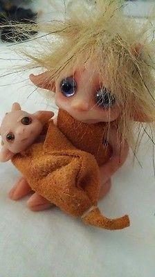 2 OOAK Polymer Clay Hand Sculpted Dolls Elf Troll & Baby by Lori of Trolltracks