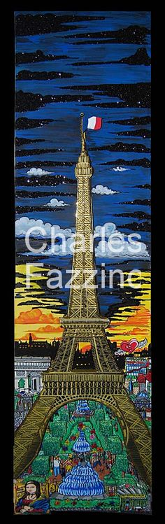 """The Majestic Eiffel Tower -  12"""" x 48"""" - 3D Pop Art Mixed-Media Painting by Charles Fazzino."""