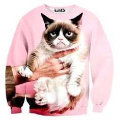 Dotoly Animal Themed Jewelry and Gift Store Adorable Grumpy Cat Graphic Print Pullover Sweatshirt