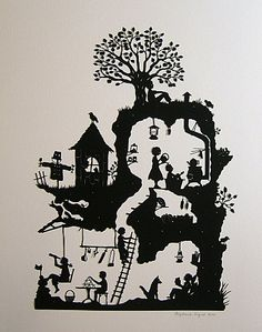 A heap of time has gone in to this. Beautiful paper cutting of a Jan pienkowski illustration. Kirigami, Illustration Art, Illustrations, Silhouette Art, House Silhouette, Shadow Puppets, Paper Cutting, Cut Paper Art, Art Cut