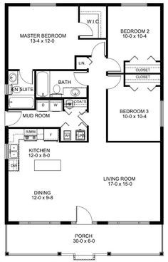 i like the efficiency of all the plumbing concentrated in the center of the house - Small Home Plans