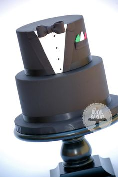 The Royal Bakery - Tuxedo Groom's Cake. Original cake design by Bake-a-boo Cakes. Gorgeous Cakes, Pretty Cakes, Amazing Cakes, Unique Cakes, Creative Cakes, Fondant Cakes, Cupcake Cakes, Bake A Boo, Tuxedo Cake