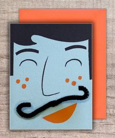 Awesome mustache cards with a pipe cleaner you can adjust.