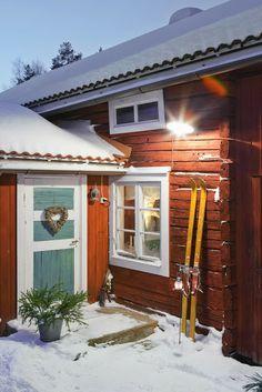 snow, winter, snö, röd stuga