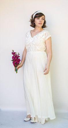 Vintage 1940s Wedding Dress - Jasmine - Sheer Organza