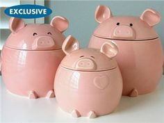This Lil' Piggy Canister Set (3-pc.): Pink by Del Rey at Food Network Store