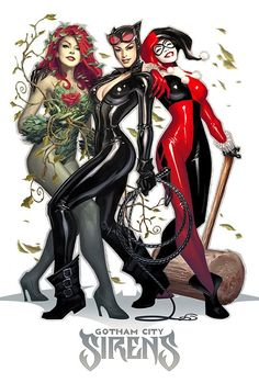 Poison Ivy, Catwoman, and Harley Quinn by Alex Garner | Click through for more art.
