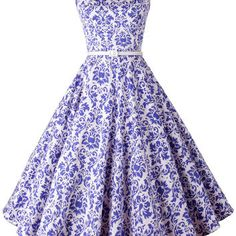 Royal Blue Floral Sleeveless Mid Skater Dress