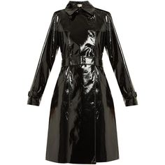 Diane Von Furstenberg Double-breasted vinyl trench coat ($798) ❤ liked on Polyvore featuring outerwear and coats