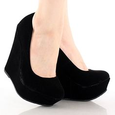 Shoes: Delicacy Trendy-33 Platform Pumps-Shoes, Black Suede, 7.5 List Price: $74.99 Buy New: $20.08
