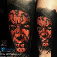 Darth Maul color portrait tattoo by Pit Fun